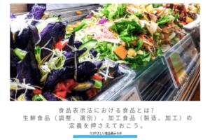 食品表示法における食品とは?生鮮食品(調整、選別)、加工食品(製造、加工)の定義 アイキャッチ