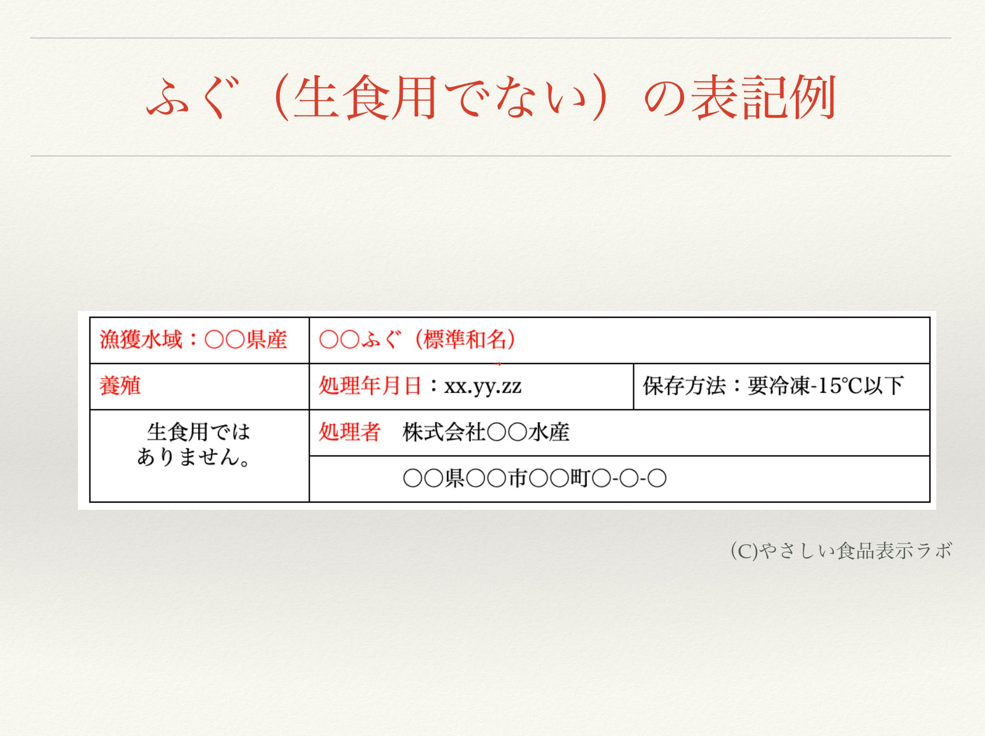 ふぐ(生食用でない)の食品表示例