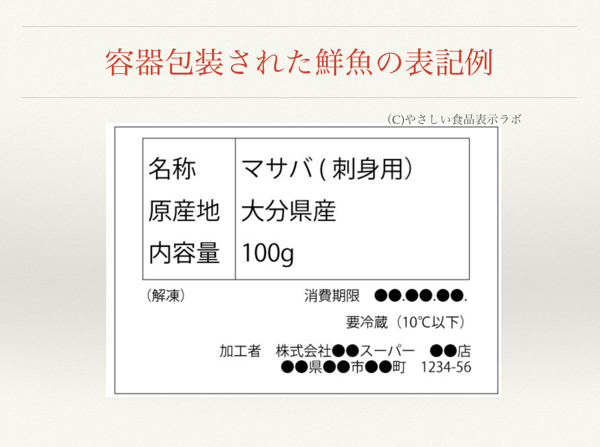 容器包装された鮮魚の食品表示例