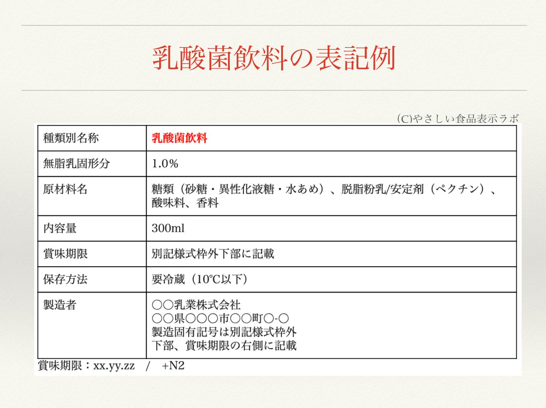 乳酸菌飲料の食品表示例