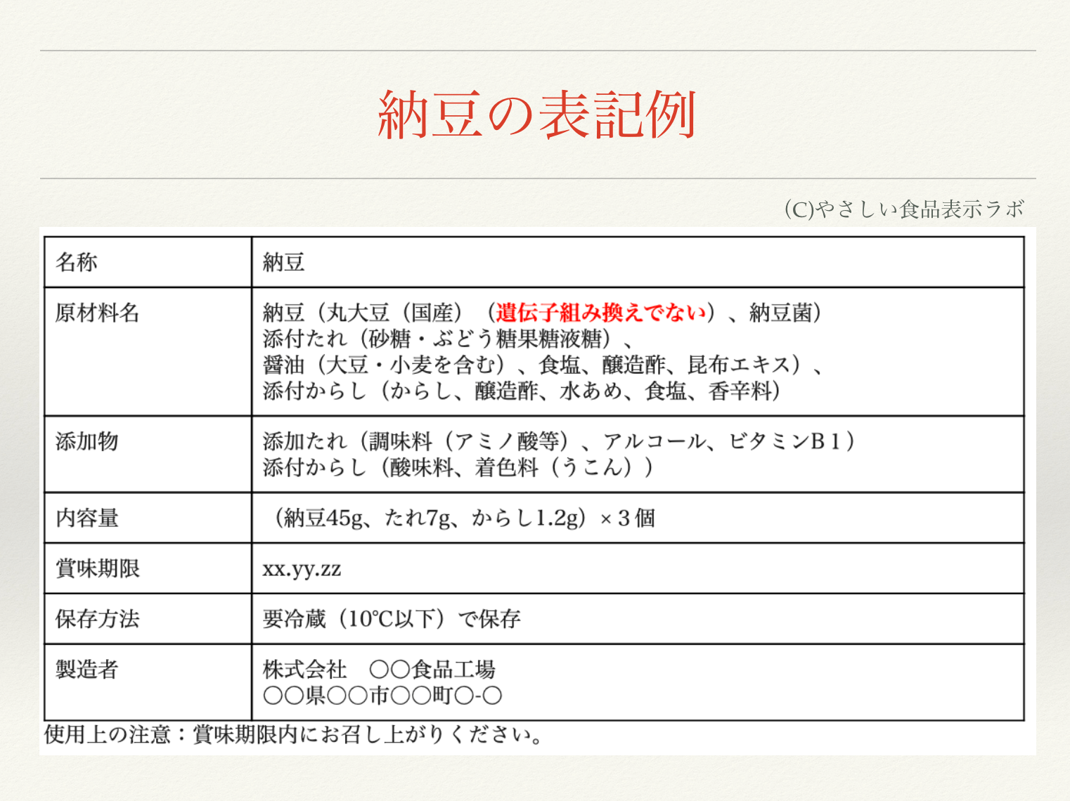 納豆の食品表示例