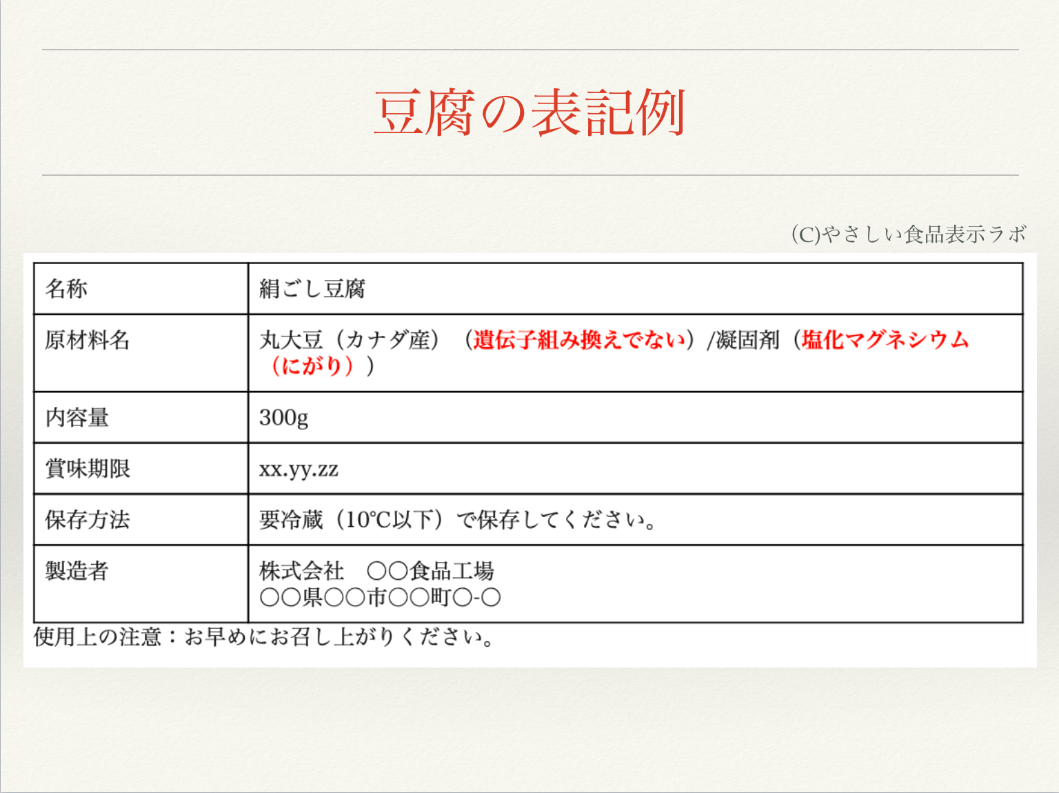 豆腐の食品表示例