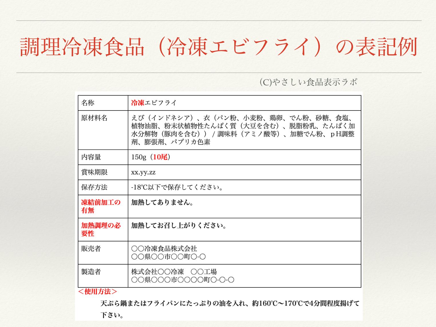 調理冷凍食品(冷凍エビフライ)の食品表示例