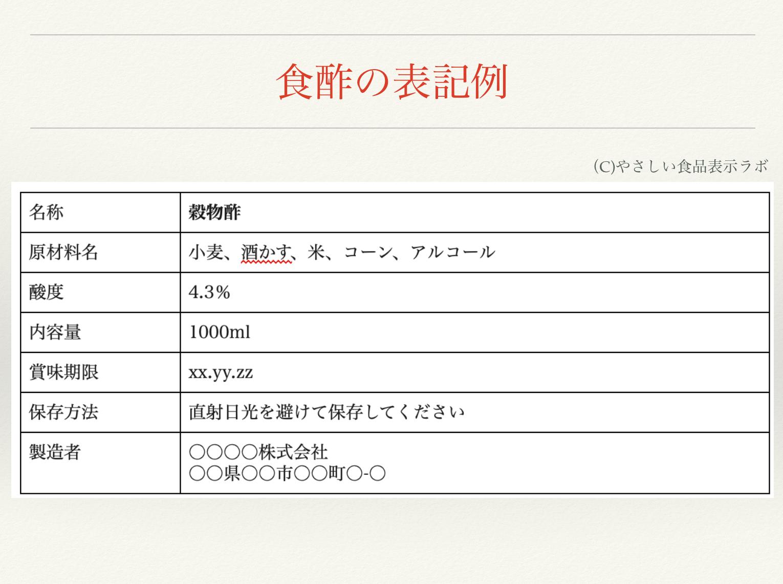 食酢の食品表示例