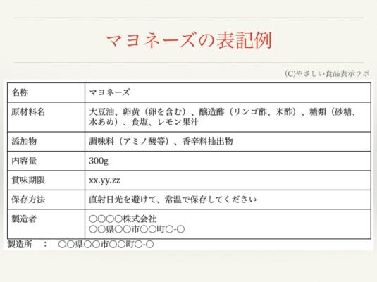マヨネーズの食品表示例
