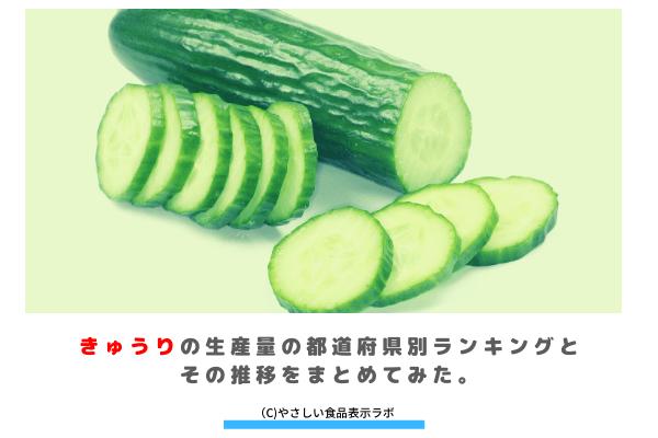 きゅうりの生産量(収穫量)の都道府県別ランキングとその推移をまとめてみた。 アイキャッチ